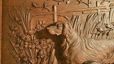 19th c. antique irish setter hunting dog victorian oak wood vtg faux carving art