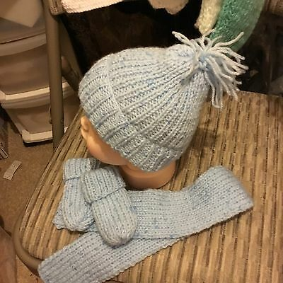 Baby Boys Bobble Hat Scarf & Mittens Blue Handmade Knitted Baby New Newborn to 6