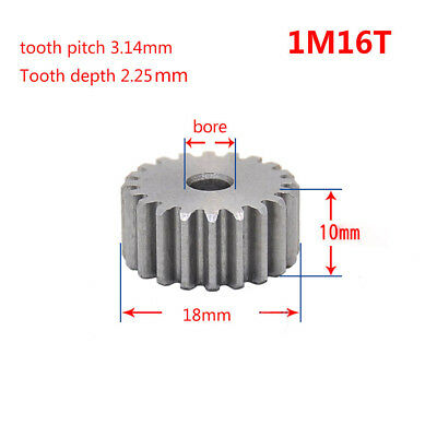 1 Mod 16T Spur Motor Pinion Gear 45# Steel Thickness 10mm Outer Dia 18mm x 1Pcs