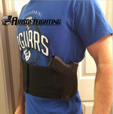 Slim Concealed Carry Belly Wrap Gun Holster Band Pistol Holster+2 Magazine Pouch