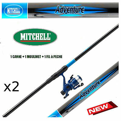 canne a peche MITCHELL Mer truite, leurre, moulinet x3