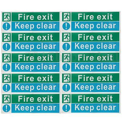 30cm Fire Exit Keep Clear Stickers Emergency Escape Safety Sign Decal Waterproof