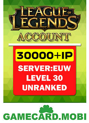 League of Legends Account LOL Account EUW Level 30 IP 30000 Unranked EU West FR