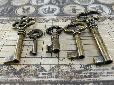 5 pcs- Vintage Style Open Barrel Skeleton Key Furniture Cabinet -Assorted