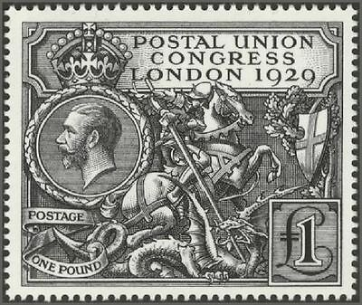 Gb Qeii 2010 Royal Mail Official Reproduction Of The 1929 Puc £1 Black Stamp