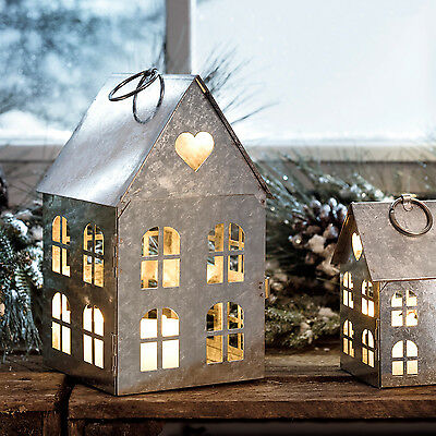 Set of Two Zinc Metal House Hanging Ornament Christmas Wedding Home Decorations