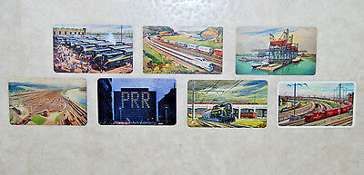 7 PRR Pennsylvania Railroad 1955-61 Train Pocket / Wallet Plastic Calendar Cards