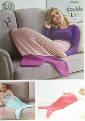 King Cole DK Knitting pattern  3 x mermaid tail Blankets  baby child adult 4692