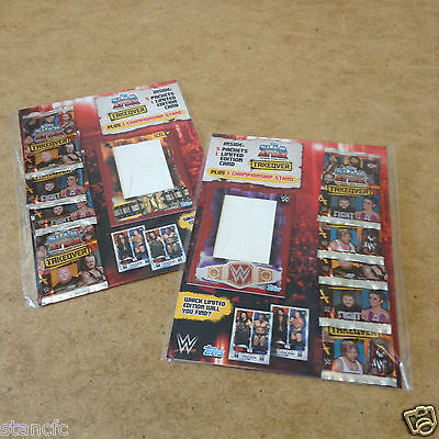 Topps WWE SLAM ATTAX TAKOVER TRADING CARD MULTI PK 5 PACKETS CHAMPIONSHIP STAND