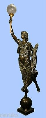 American  Antique 9 Foot Bronze Woman Torchiere / Lamp Signed R.p. Bringhurst
