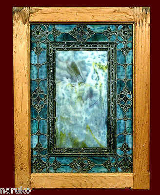 RUDY BROS.OPALESCENT JEWELED w CARBOCHONS STAINED LEADED GLASS WINDOW
