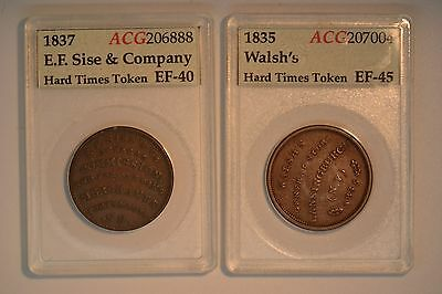 Pair of Nice Hard Times Tokens- 1837 EF Sise and Company and 1835 Walsh's-  EF