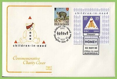 G.B./Isle of Man 1985 Children in Need Charity Cover, with BBC souvenir sheet