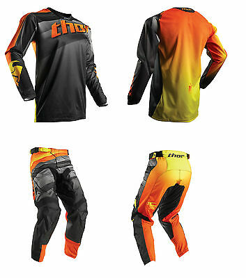 Thor Pulse Velow MX Enduro Combo Hose + Shirt Fox Motocross KTM Orange Schwarz