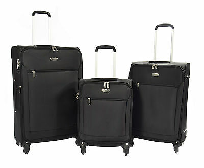SOFT Luggage SUITCASE Travel Bags 4 Wheels TSA Lock Ultra Light Expandable BLACK