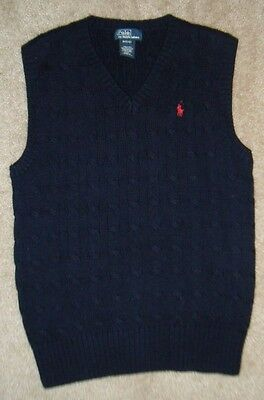 Boys Ralph Lauren POLO Navy Blue Red Pony Preppie Cable knit Sweater Vest 10/12