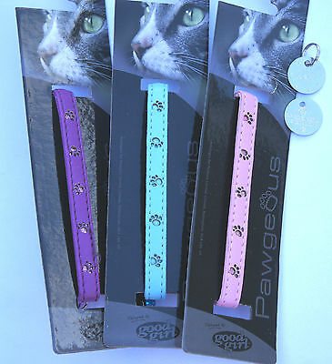 Cat Collar Id Tag And Bell Sale  - Good Girl Shimmer Paws 3 Colours Available