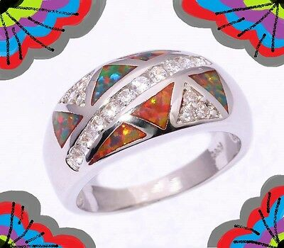 New Size 8 Ring + Giftbox! Passion Healing Gemstone Clear Crystal Silver Stamped
