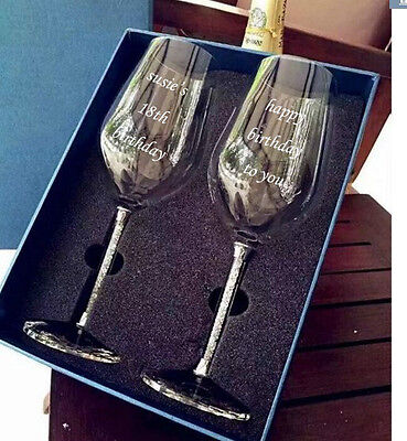 2x Personalised 350ml Wine Glass Engraved Birthday 18th 21st 40th 50th Gift