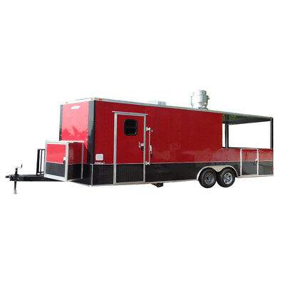 Concession Trailer 8.5' X 24' Red Food Event Catering