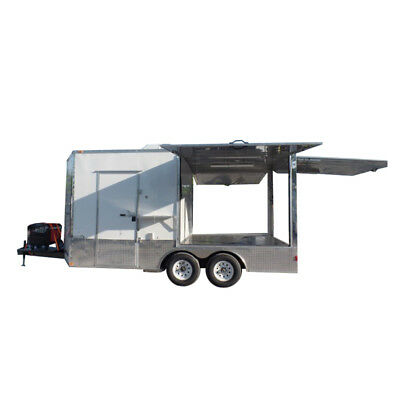 Concession Trailer 8.5' X 16' White Pizza Event Catering