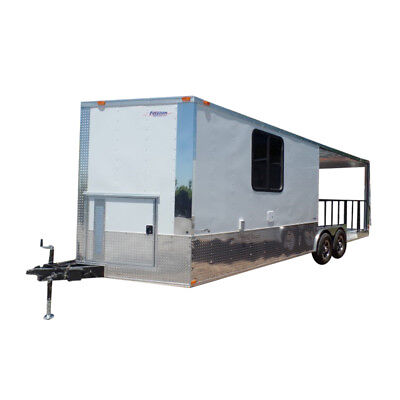 Concession Trailer 8.5' X 24' White BBQ Event Catering
