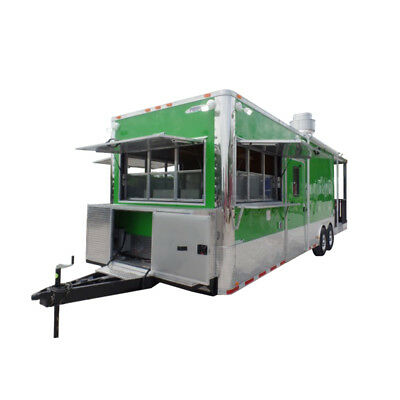 Concession Trailer 8.5' X 30 Lime Green BBQ Catering