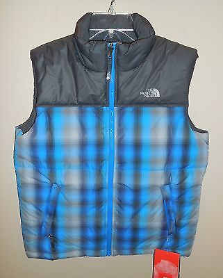 New Boys Youth Large 14/16 TNF The North Face Big Guns Vest Grey Drummer Blue