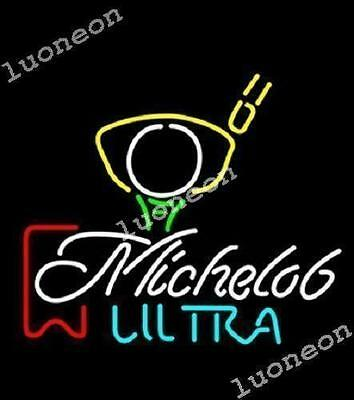 New Michelob Ultra Red Ribbon Golf Beer Bar Light Man Cave Garage Real Neon Sign