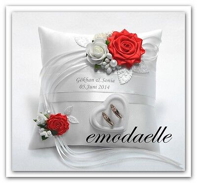 Personalized! wedding ring cushion pillow with rings holder box 30... color.