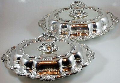 Pair of English Silverplated Entrée Dishes With Covers Made by Mappin & Webb's