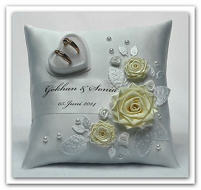 * Personalized!! wedding ring cushion pillow with rings holder box 30 color !!