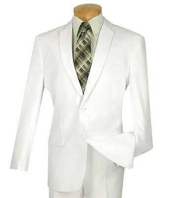 Men's White 2 Button Slim-Fit Polyester Suit NEW