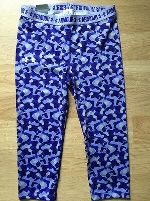 Under Armour Capri Fitted Pants Youth Large Purple Heat Gear NWT