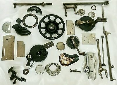 28  Vintage Sewing Machine Parts Incl Hand Cranks