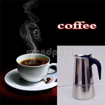 Stainless Steel 2 Cup Percolator Stove Top Latte Moka Espresso Pot Coffee Makers