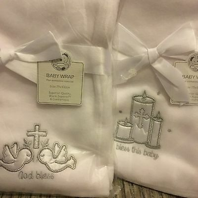 Baby's White Christening Shawl Blanket Silver Embroidered Cross Girls Boys Wrap