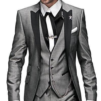 New Hot Best Man Groomsmen Groom Wedding Tuxedos Grey Custom Men Party Prom Suit