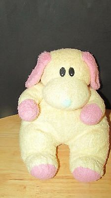 TY Dogbaby Baby Plush Yellow Pink Dog Puppy Rattle Stuffed Lovey Soft Toy tylon