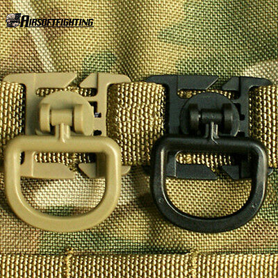Tactical MOLLE Plastic Clip Clamp with Rotatable D Buckle Bag Pouch Accessory