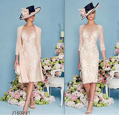 Blush Pink 2017 Lace Woman Formal Outfits Mother of The Bride Dress Suits