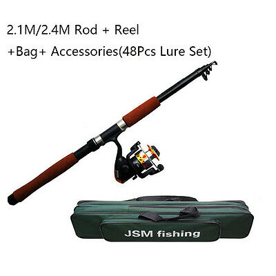 2.1M/2.4M Fishing Rod and Reel Combos Kits Portable Telescope Adjustable Rod