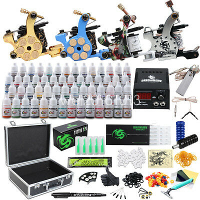 Complete Tattoo Kit Top Machine Gun 56 Color Ink Power Supply Needle D176ED