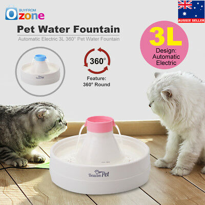 3L 360° Automatic Electric Pet Water Fountain Cat Waterfall Drinking Bowl Pink