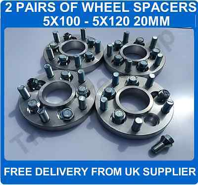 VW 5x100 To Range Rover P38 5x120 20mm Hubcentric PCD Adaptors 2 Pairs + Bolts