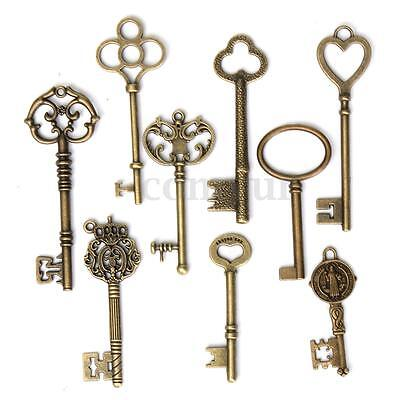 new Antique Vintage Old Look Skeleton Key Pendant Heart Bow Lock Steampunk