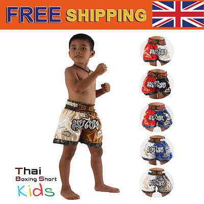 Muay Thai Boxing Shorts Kick Boxer Satin Kids Children Girl Boy Kickboxing UK 6C