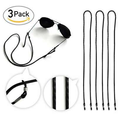 3pcs Black Leather Sunglasses Chain Strap Cord Holder Neck Eyeglass Lanyard 25""