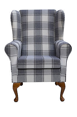 Wingback Fireside Chair in a Dove Grey Alderney Check Fabric - Brand New