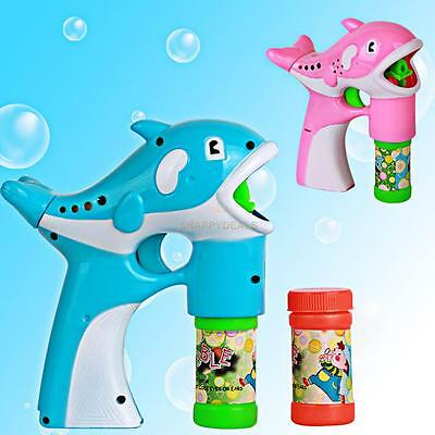 Dolphin Bubbles Blowing Gun Soap Machine Kids Children Bubble Game Toy Gifts HOT